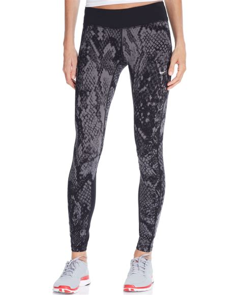 nike grey patterned leggings nike epic lux printed dri fit leggings in gray lyst