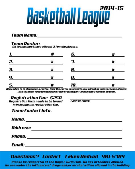 basketball c registration form template quotes