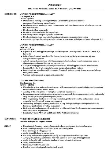 plc programmer resume format junior programmer resume sles velvet