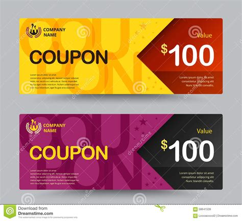 Voucher Promo gift voucher card template design for special time coupon temp stock vector image 58641539