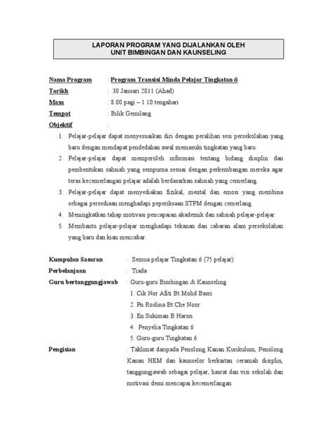 contoh laporan program untuk perkongsian guru bimbingan