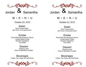 Free Wedding Menu Templates For Microsoft Word by Wedding Menu Template 5 Plus Printable Designs