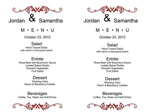 wedding reception menu template post wedding brunch menu ideas wedding menu template 5