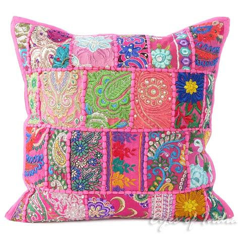 Pink Patchwork Throw - 16 quot pink patchwork throw sofa pillow cover cushion
