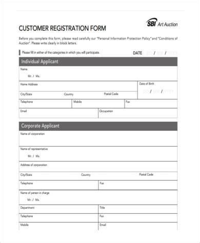 sle customer registration forms 7 free documents in