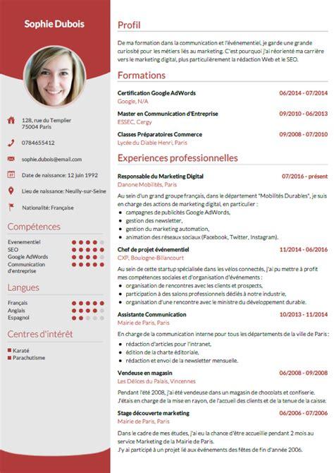Un Exemple De Cv by Faire Un Cv En Ligne T 233 L 233 Chargez Votre Cv En 3 233
