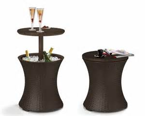 Patio Cooler Table Cooler Cocktail Table Combo Wicker Outdoor Furniture Patio Deck Barbecue
