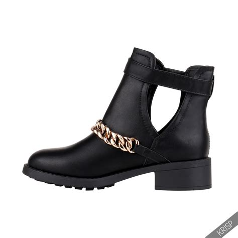cut out casual low flat heel buckle ankle boots zip
