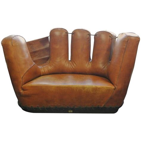 baseball glove couch stiles brothers leather baseball glove sofa at 1stdibs
