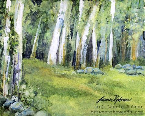 Fields Of Green Original Board a nature watercolor springtime landscape between the weeds
