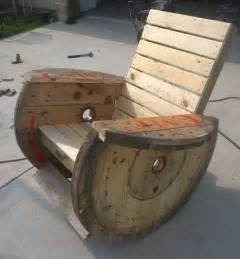 wooden spools rocking chairs and cable on