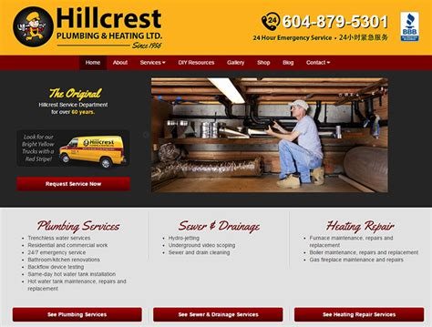 Hillcrest Plumbing by 100 Plumbing Websites For Design Inspiration