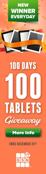 Sweepstakes Postmarked - gsn 100 days 100 tablets giveaway win a tablet