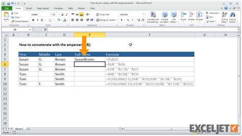 excel jet tutorial excel tutorial how to join values with the ersand