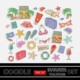 doodle summer summer vacation doodle set sticker with themed elements