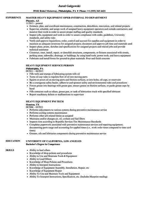 Heavy Equipment Manager Resume