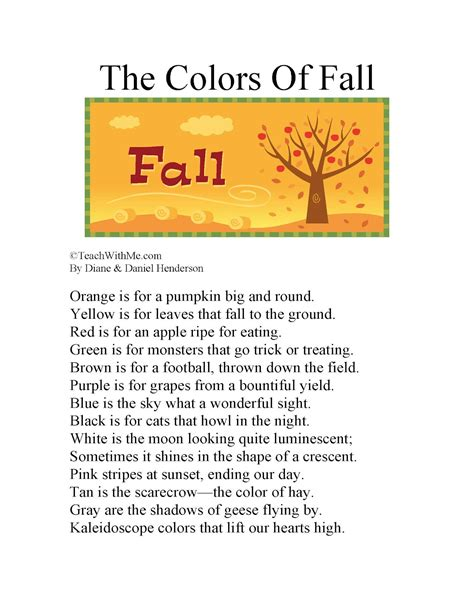 words that rhyme with colors classroom freebies the colors of fall