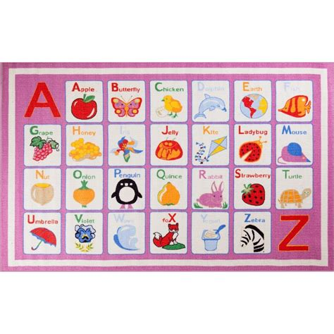 pink alphabet rug concord global trading time alphabet pink 4 ft 5 in x 6 ft 1 in area rug 07705 the