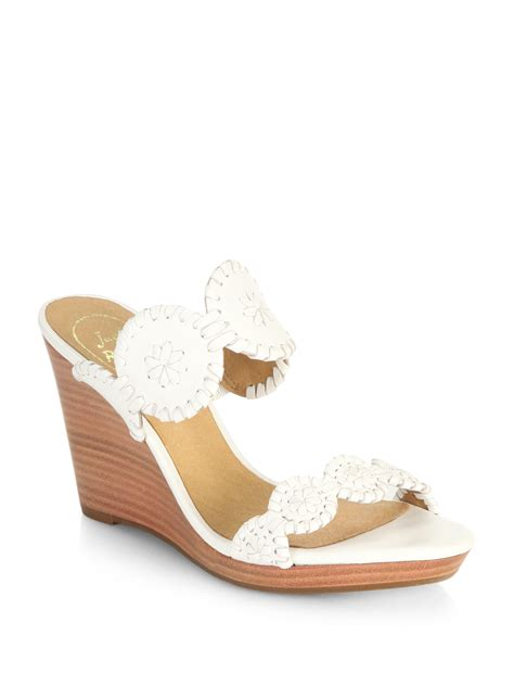 Sandal Wedges Wg45 White rogers luccia wedge sandals in white lyst