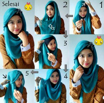foto tutorial hijab turban segi empat aneka cara memakai hijab segi empat variasi terbaru yang