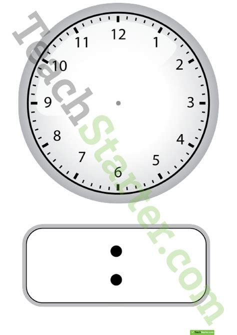 digital and analogue clock template teaching resource