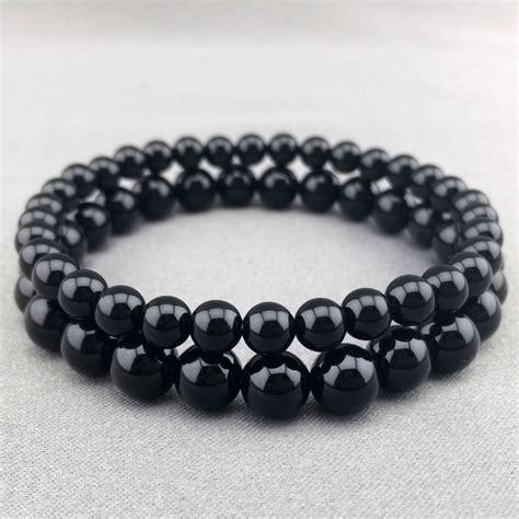 mens womens onyx beaded bracelet gemstone stretch