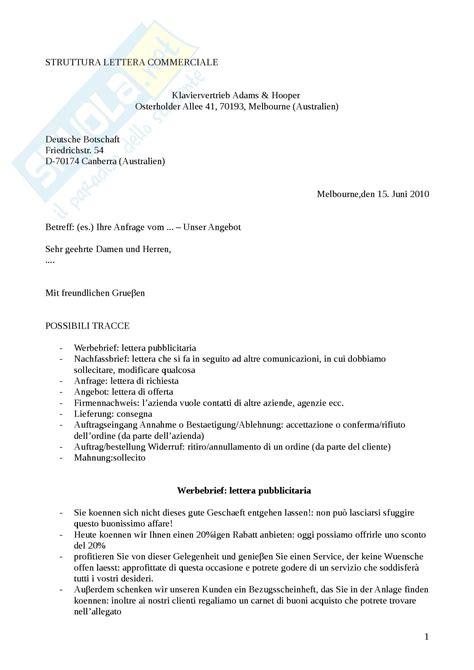 intestazioni lettere commerciali lingua tedesca struttura di una lettera commerciale