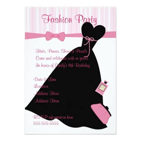 fashion show invitation card templates fashion show 5x7 paper invitation card zazzle