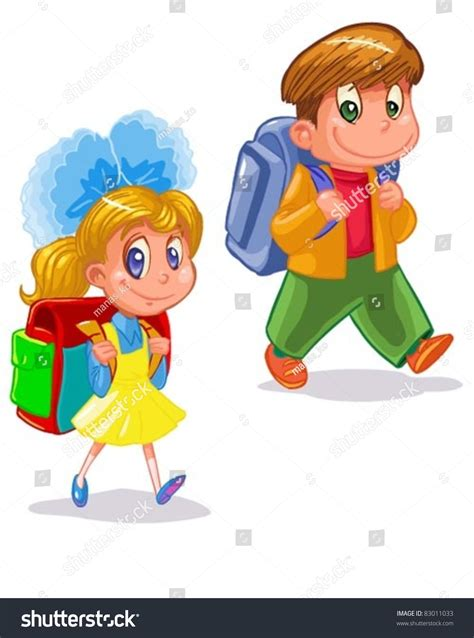 Find I Went To School With Children Go To School Stock Vector Illustration 83011033