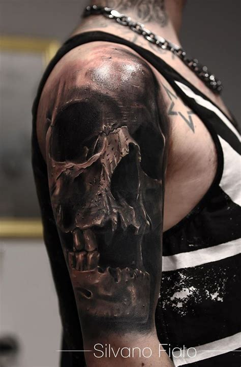 realistic skull sleeve best tattoo design ideas