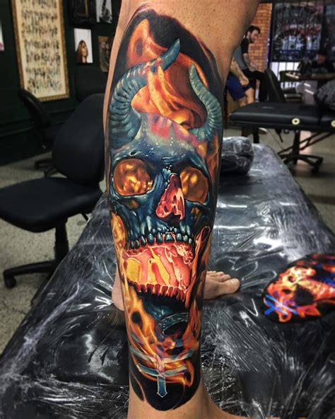 demon skull tattoo flaming with horns best tattoo