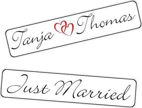 Just Married Autokennzeichen by Kfz Kennzeichen Hochzeit Just Married Mit Herzen Und Namen