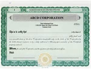 Corporation Stock Certificate Template by Stock Certificates Custom Stock Certificates Single