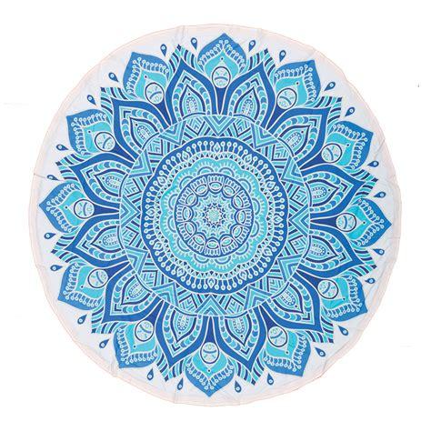 mandala flower turquoise round towel balitowel i