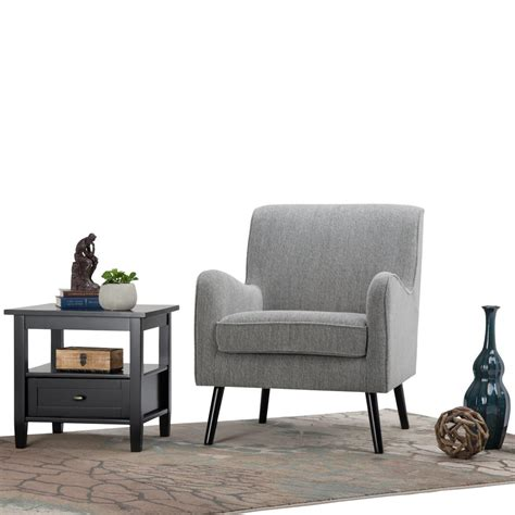 simpli home dysart grey tweed fabric club arm chair axcchr