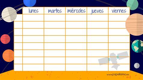 Sistema De Calendario Sistema Solar Para Ni 241 Os Horario Y Etiquetas Para El Cole