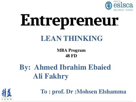 Lean Operations Mba by Lean Management