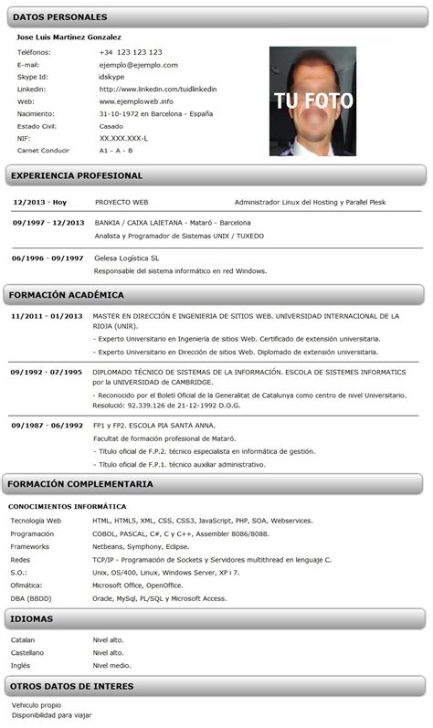 Plantilla De Curriculum Vitae Basico Para Descargar cv inform 225 tico ejemplo curr 237 culum