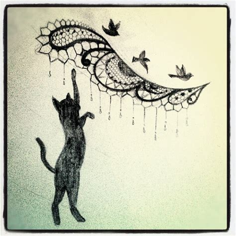 design works home is where the cat is getting the lace dot work and cat added to my