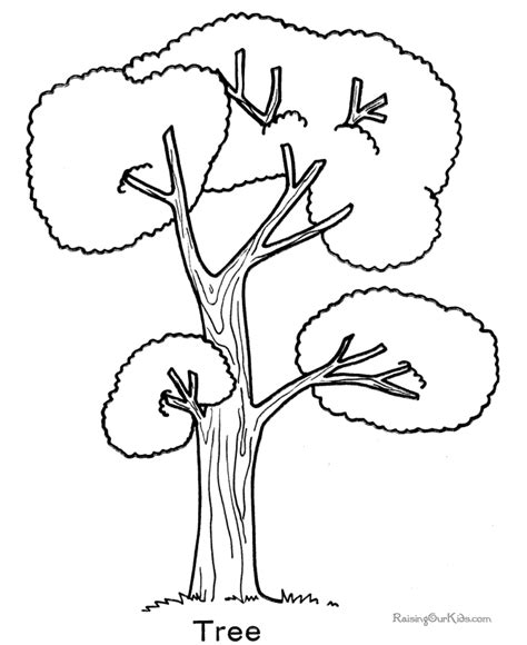 A Tree Coloring Pages Printable Tree Coloring Page