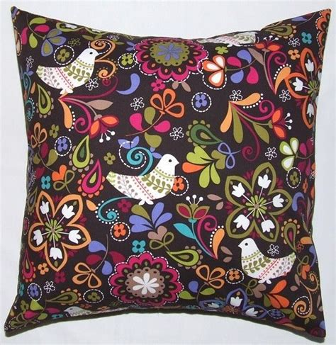 Sarung Bantal Cushion Cover Pattern 021 16 inch cushion cover colourful scandanavian inspired design on a brown background for