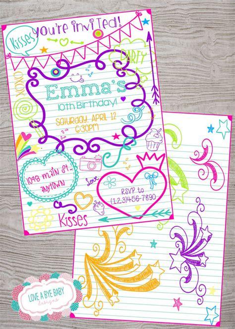 printable birthday invitations for tweens doodle tween teen kid birthday invitation printable digital