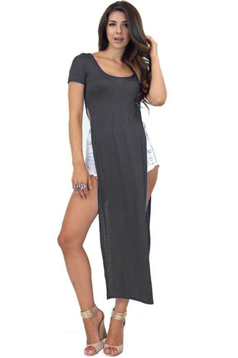 Sleeve Slit Side Dress womens slit dress high side split midi tunic