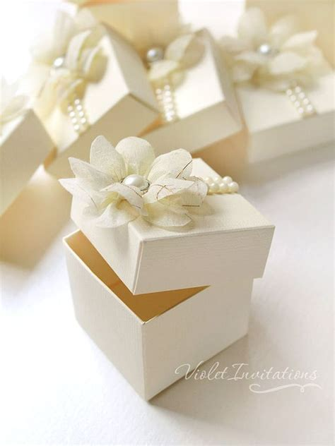 Handmade Baptism Favors - gift boxes ivory and christening on