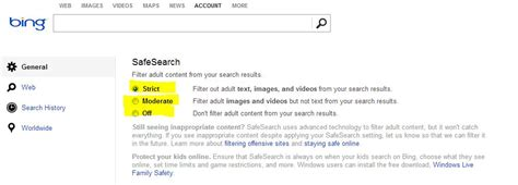 safe search bing safer web searching with bing safe search safekidsonline