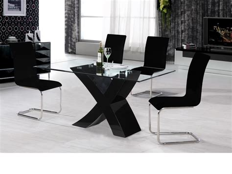Black Gloss Dining Table And Chairs Black High Gloss Dining Table And 4 Chairs Glass Top Homegenies