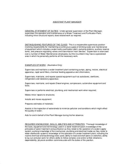 Plant Manager Description by Plant Manager Description Sle 8 Exles In Word Pdf