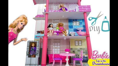 barbie doll house videos barbie doll house diy how to make a barbie malibu dream house youtube