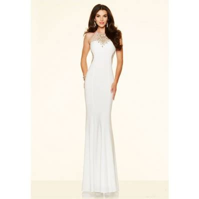 fitted high neck open back white jersey gold beaded evening prom dress