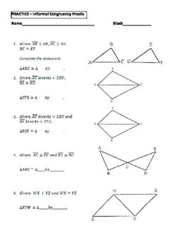 Triangle Congruence Proofs Worksheet by Geometry Unit 8 Congruent Triangles Informal Proofs Sss